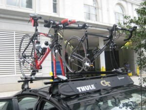 Bikes on car at Mayfair