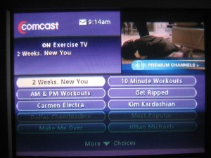 On Demand Exercise TV Menu (sorry for the poor quality)