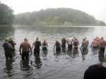 People in the water waiting to start